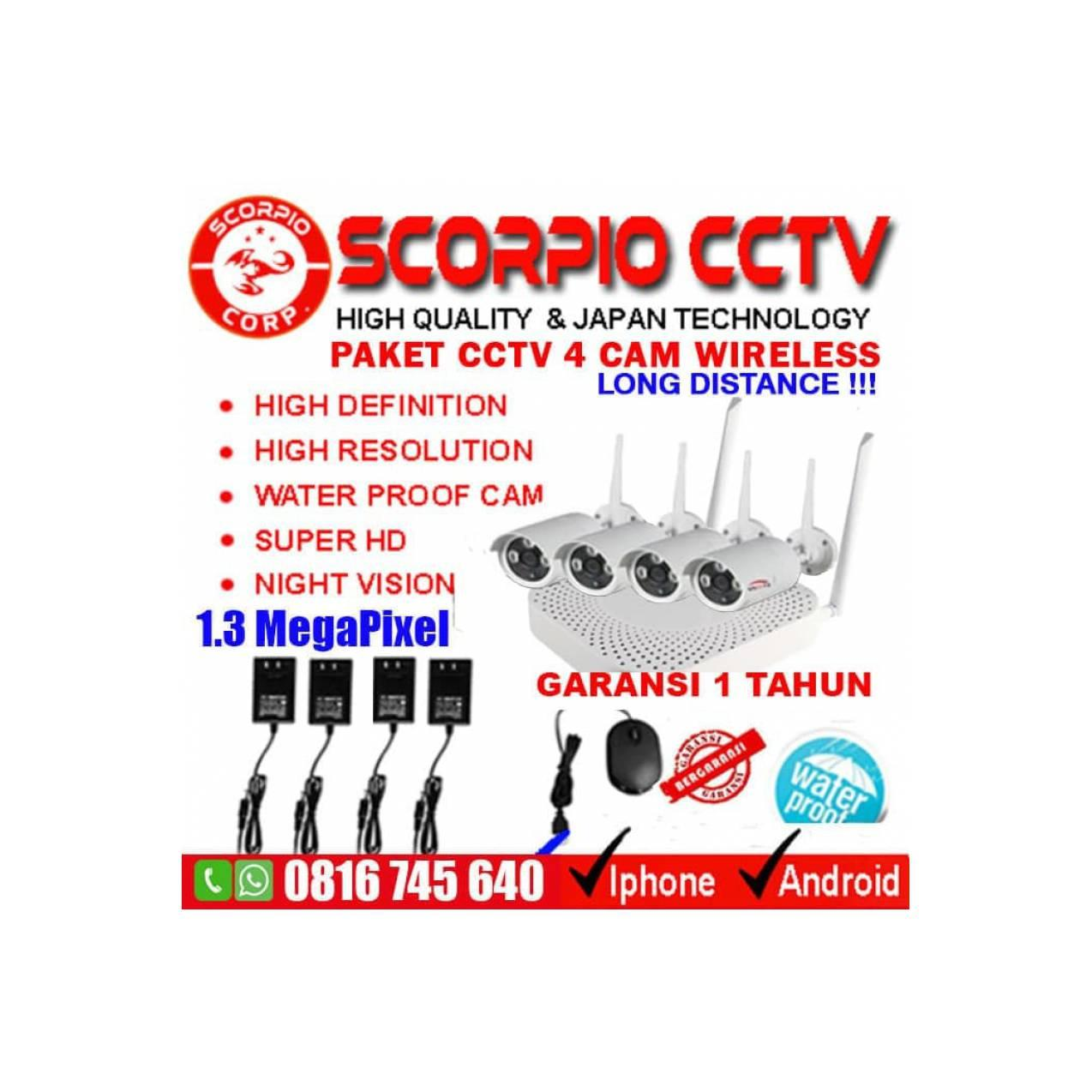 PAKET CCTV 4 IP CAMERA WIRELESS SUPER HD WIFI KAMERA + HARDISK 2 TERA