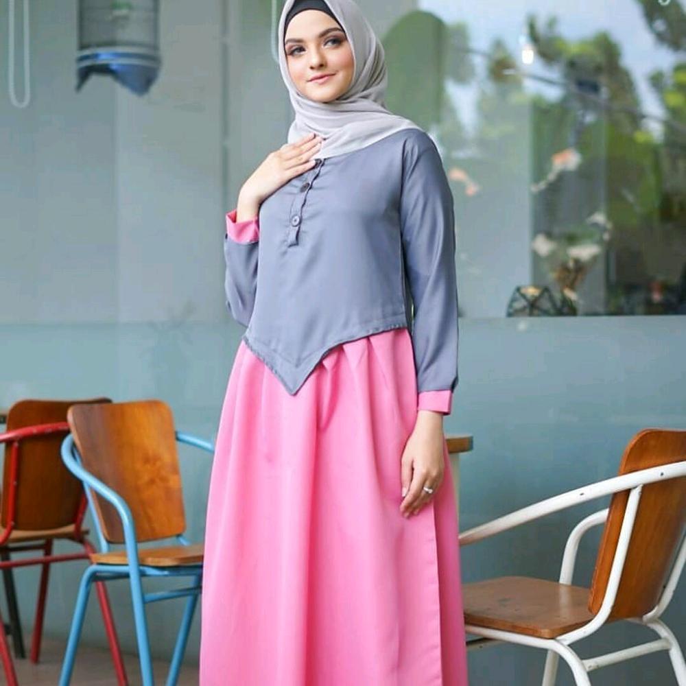 Baju Muslim Original Gamis Layna Dress Dress Baloteli Muslim Panjang Dress Casual Wanita Pakaian Hijab Modern Gamis Modis Trendy Gaun Terbaru