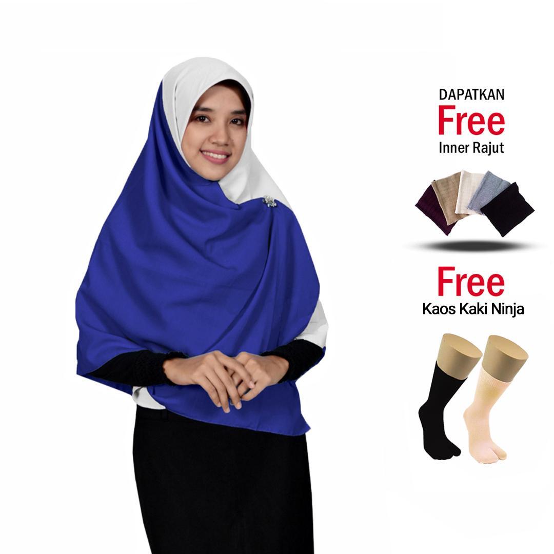 [Jilbab Hijab Syari] Fashion Daily Hijab Square Jilbab Segi Empat Zafirah Hijab Kombinasi Wolfis Premium Free Inner rajut dan Kaos Kaki Ninja Bisa Bayar di Tempat .,