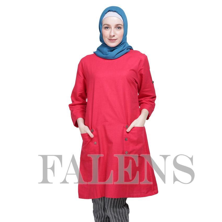 Falens Gina Tunik Atasan wanita Baju Blouse cewek Fashion Bagus Cantik Bahan Adem - Red merah