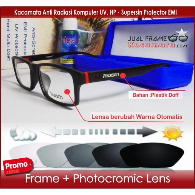 Frame Kacamata Minus - Lensa Photocromic Berubah Warna Otomatis Photogrey - Kotak Pria Wanita Sporty