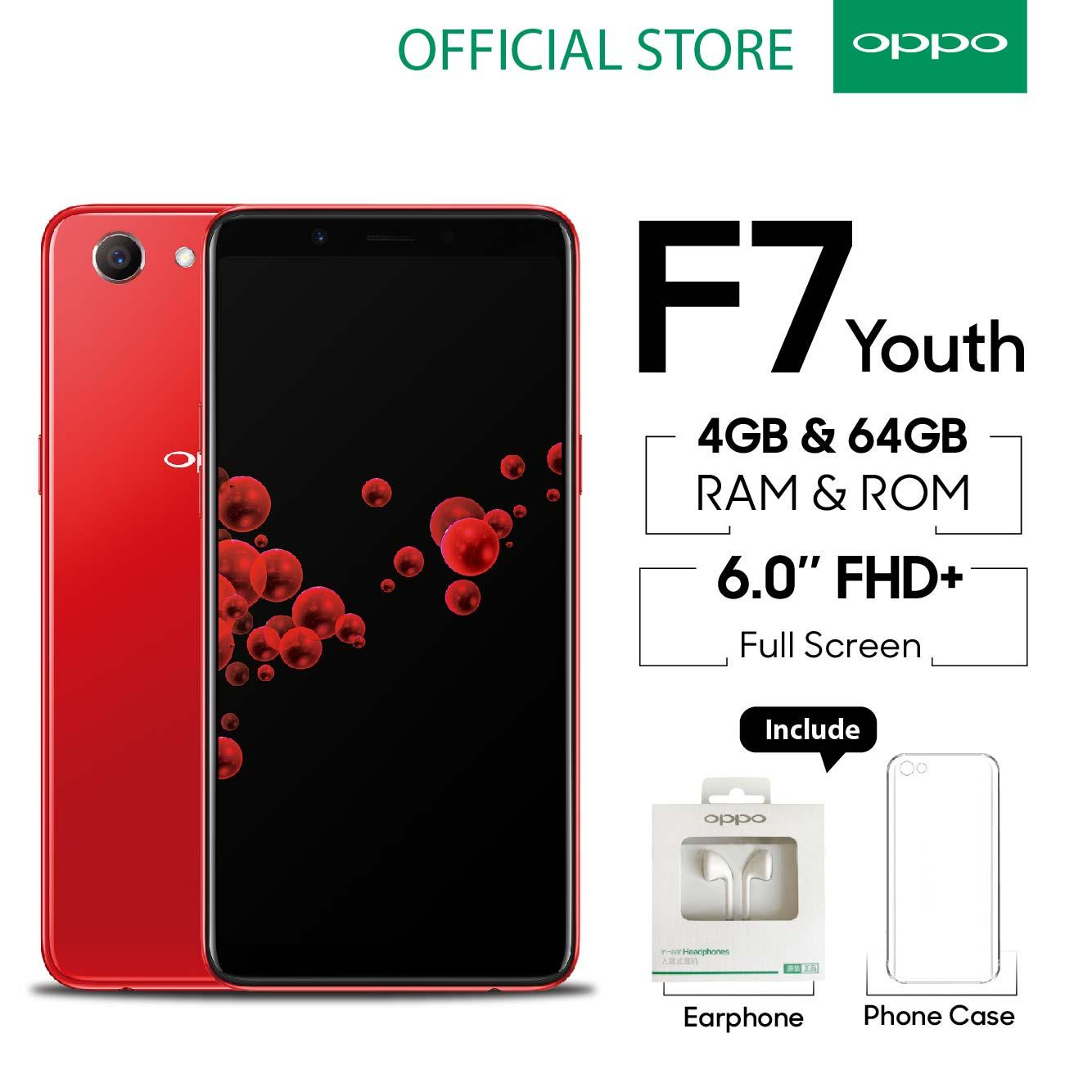 Oppo F7 Youth Smartphone 20 MP AI Beauty Technology 2.0 4GB/64GB Red- (Cicilan TANPA Kartu Kredit, Cicilan 0%)