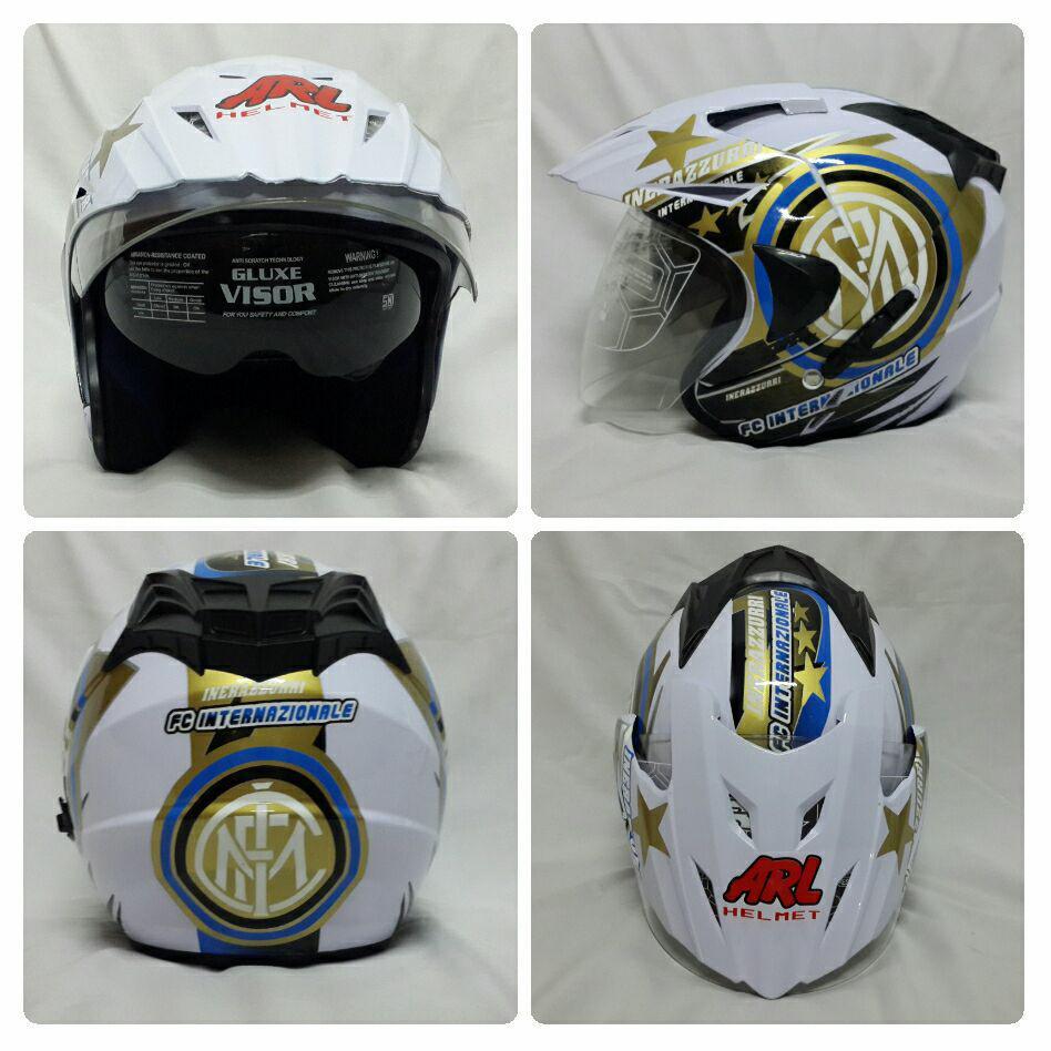 Cek Harga Baru Helm Zeus 610 Motif Oo17 Zs610 Half Face Double Visor Zs 610k Polos Hijau Tua Dove Arl Club Bola Intermilan Putih