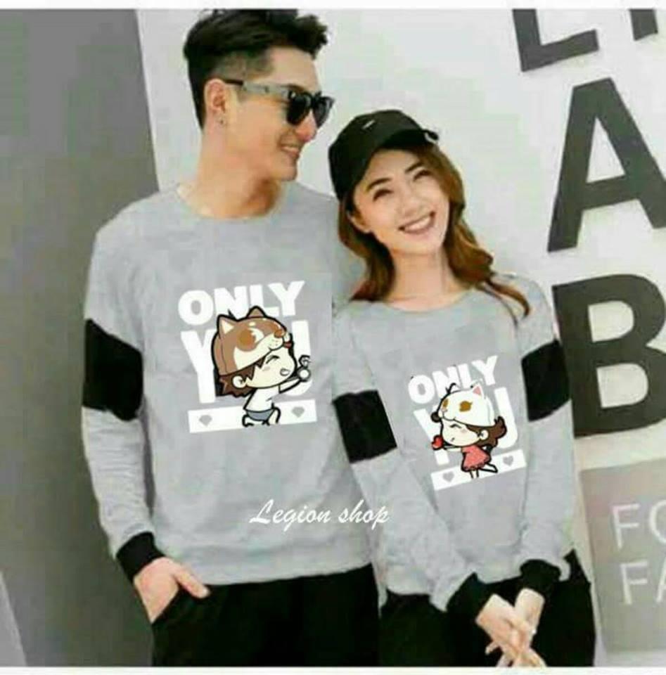 legiONshop-sweater pasangan  sweater couple  couple terbaru  baju kembar  pakaian pasangan ONLY U ANIMASI(harga sudah 2 baju)