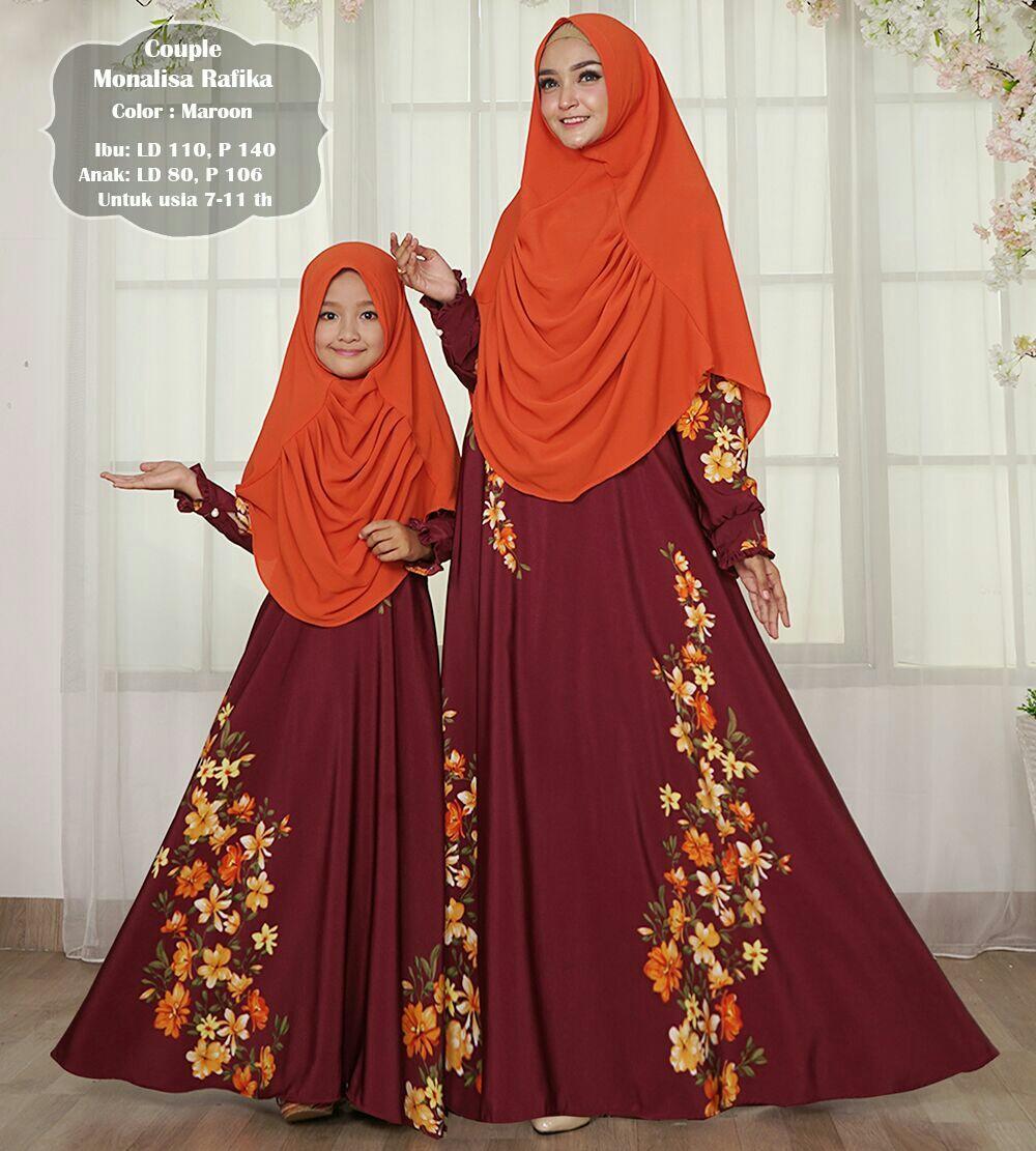 Afifahstore Gamis Muslim Syari Couple Ibu dan Anak Dress Hijab Muslimah Atasan Wanita Maxmara Rafika