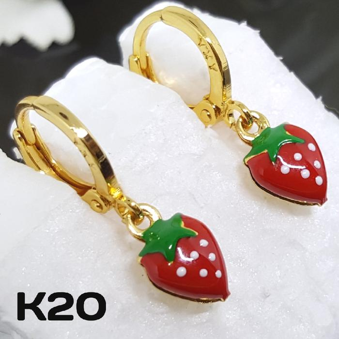 K20 Anting Anak Strawberry - Aksesoris Perhiasan Imitasi Xuping Emas