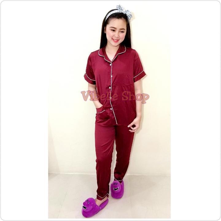 SATINCP - MARUN - Satin Silky Velvet Vibelle shop grosir baju tidur piyama fashion murah wanita