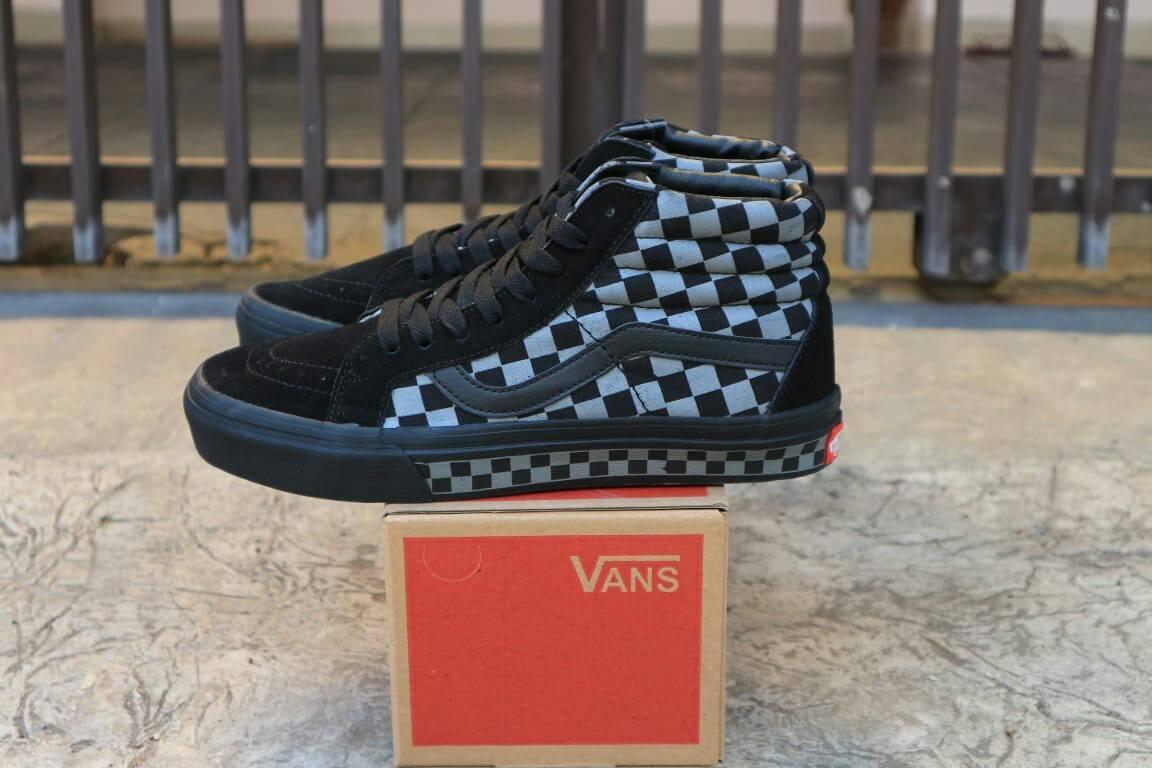 Sepatu Casual Skate Pria Vans SK8 CheckerBoard OldSkool Tinggi Reissue DT / Sneakers / Sekolah / Mid / High