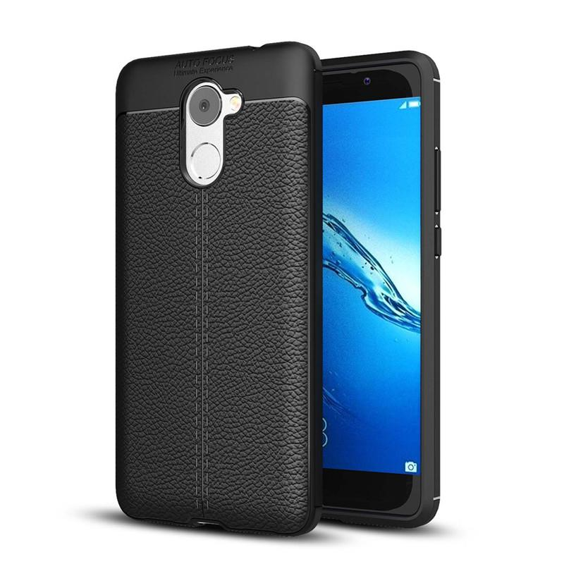 Leather Style TPU Soft Case for Huawei Y7 Prime - Hitam