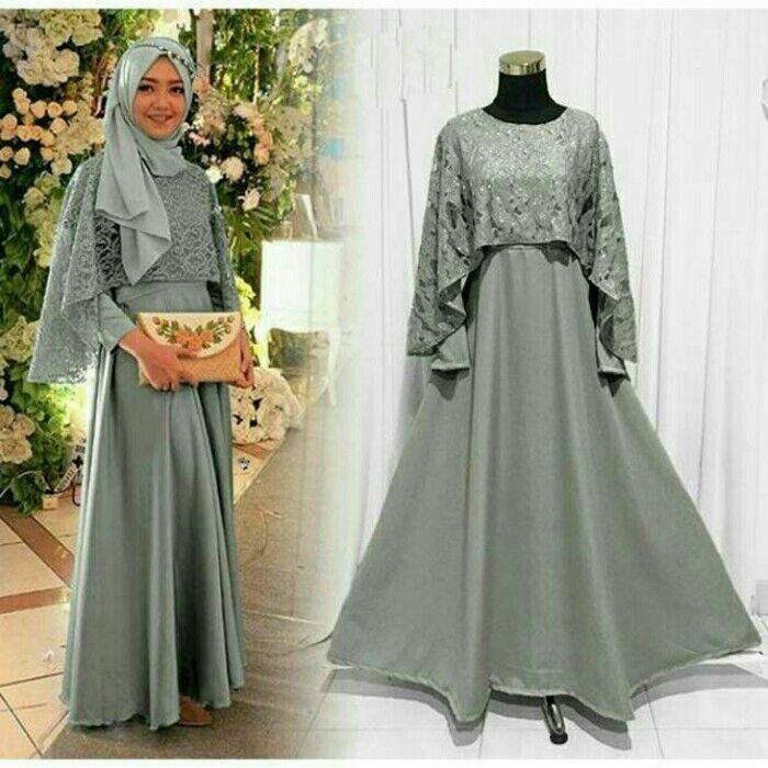 Maxi olivia brukat abu/ grey baju gamis pesta wanita muslim. Baju pesta murah. Gamis pesta promo. Gamis pesta best seller