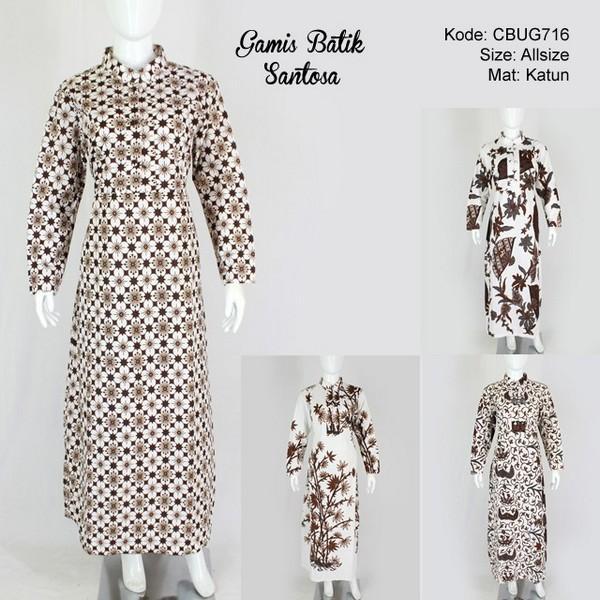 Mila Style Baju Gamis Batik Santoso Putih - Multicolor