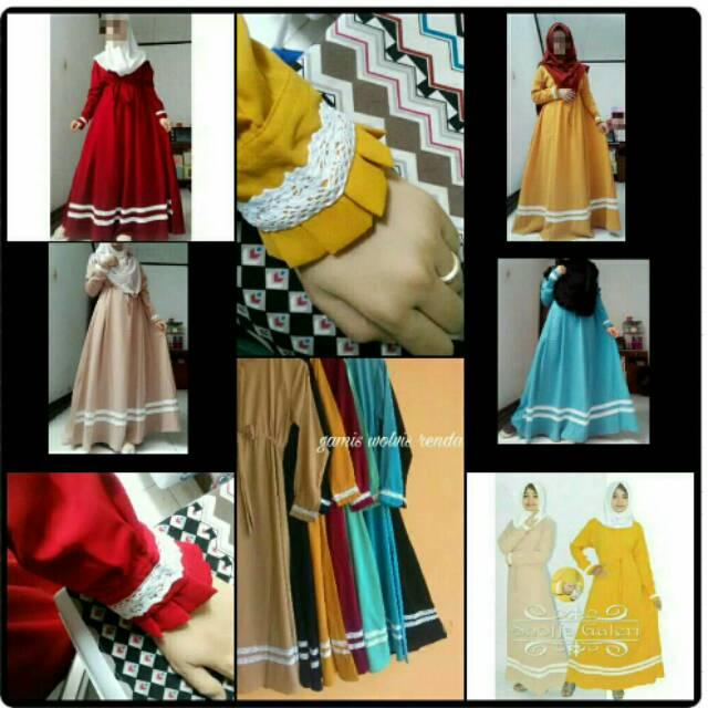 Gamis Wolfis/Wolpeach ( SAHIRA DRESS ) hijau mint