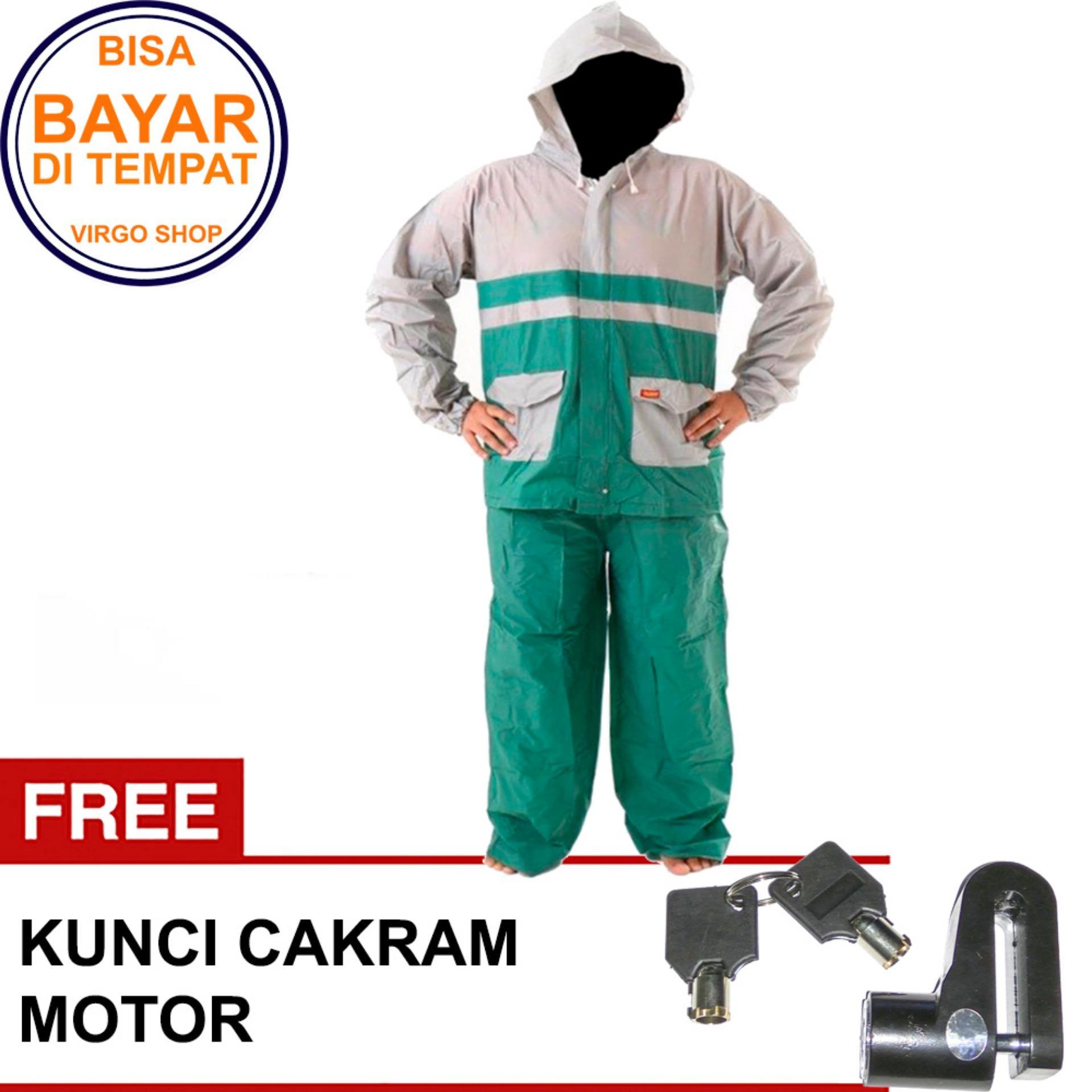 Termurah Elmondo Jas Hujan Setelan Baju Celana - New Kombinasi Tipe 905 Hijau Bonus Kunci Disk Pendek