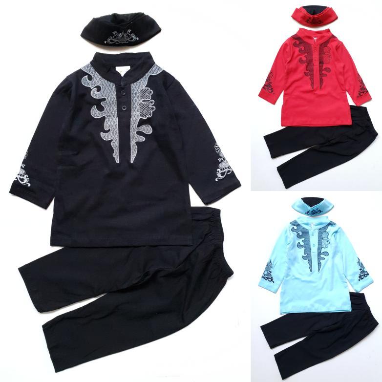 〘pRodUcT TeRlARIs〙 Baju Muslim Anak Bayi Cowok Koko Kaos Bordir Black Panther Peci