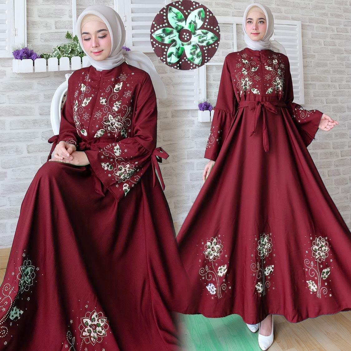 mamamia collection - gamis syari maxi flower motif bunga / baju muslim wanita syar'i / muslimah / baju lebaran / gaun pesta