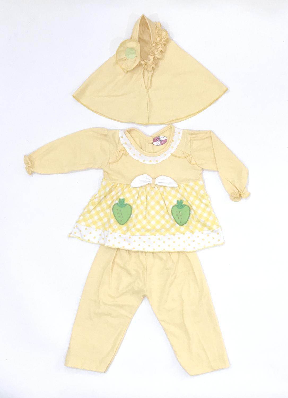 BAYIe - Setelan Baju Muslim Bayi Perempuan motif Stawberry TIVVI / Gamis anak cewek umur 6 - 12 bulan