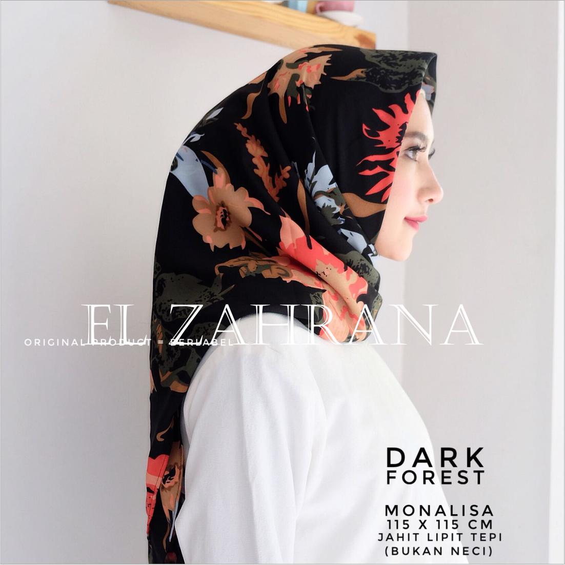 El Zahrana Hijab Square - Kerudung Segi Empat - Jilbab Segi Empat - Jilbab Motif Premium Monalisa