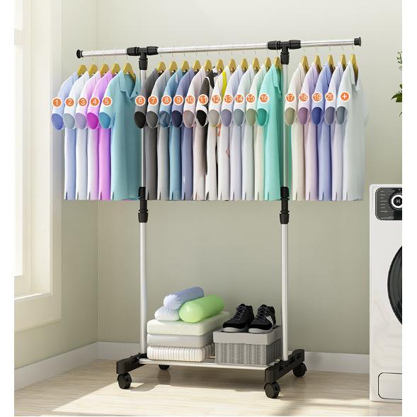 standing hanger 1 sisi dengan 4 roda - rak jualan - rak baju - gantungan baju
