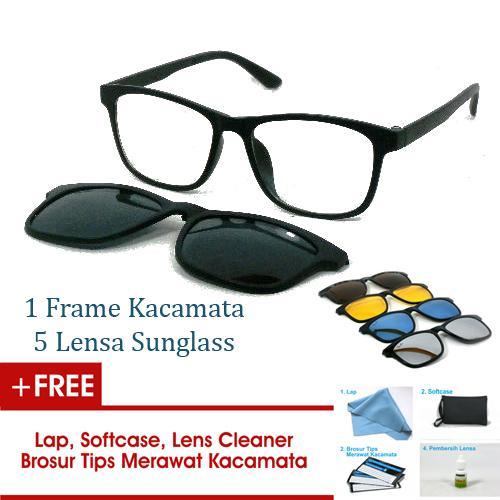 Frame Kacamata Clip On Gratis 5 Lensa Warna Sunglass Polaroid Night View Bisa Ganti Lensa Minus Di Optik Terdekat