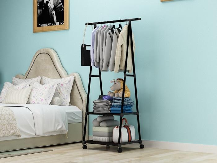 Peralatan  Rumah Tangga /  Laundry  /  Gantungan Baju MH X17 Triangle Stand hanger rak buku Serbaguna dengan 4 roda MEGAHOME / Gantungan Baju / Gantungan Baju Kekininan