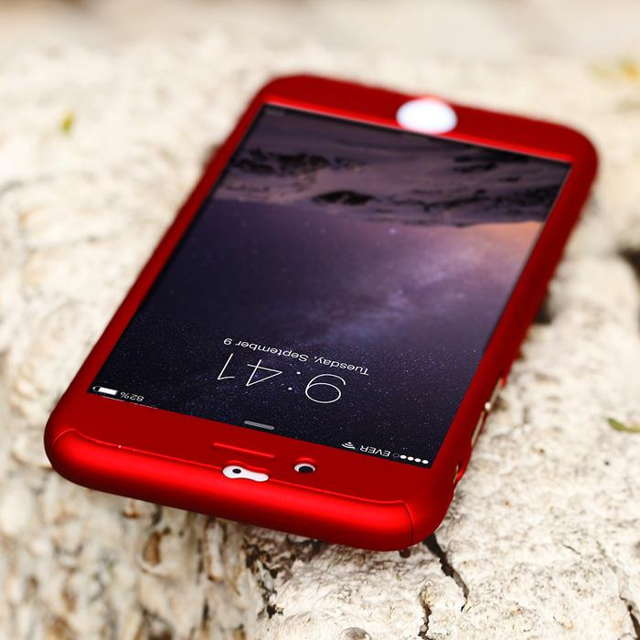 Hardcase Case 360 Iphone 6 / 6s Casing Free Tempered Glass Cover - MERAH