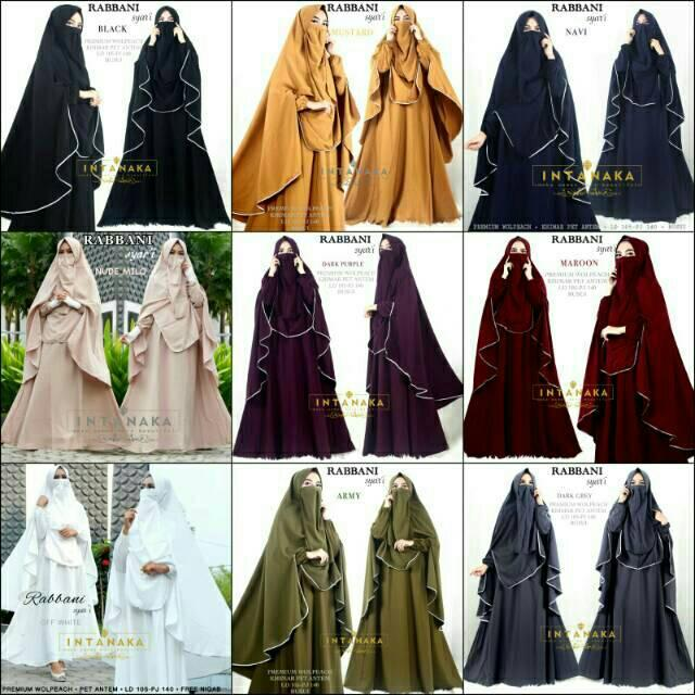 Gamis Rabbani Syari Ori Intanaka Longdress Maxi Wolpeach Dark Grey