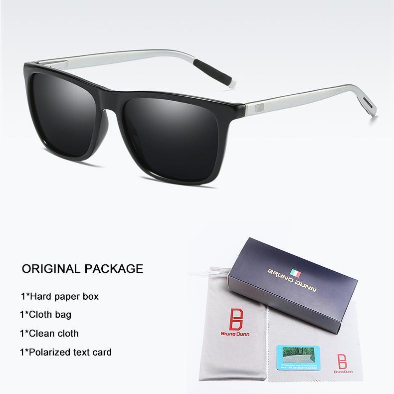 Bruno Dunn Aluminium Magnesium Alloy Polarized Kacamata untuk WANITA Pria Mengemudi Sun Kacamata Wanita  (Silver Frame Lensa Abu-abu) -Intl