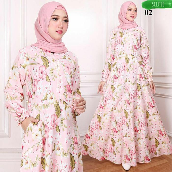 (JNH Shop)  Gamis Maxy Bunga Ima Baju Wanita Bagus Murah Maxi 02 Salem TA