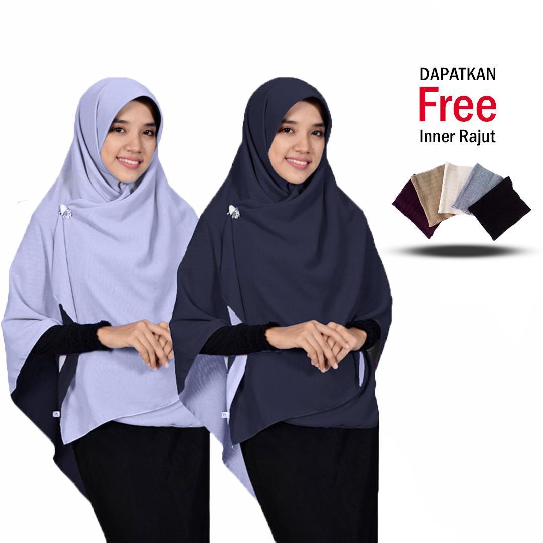 Jilbab 2 Warna Daily Hijab New Fashion Muslim Terbaru Modern Model Sekarang Kerudung Khimar Segi4 Bolak Balik Dua Warna Jumbo Syari - Baby Pink Fanta