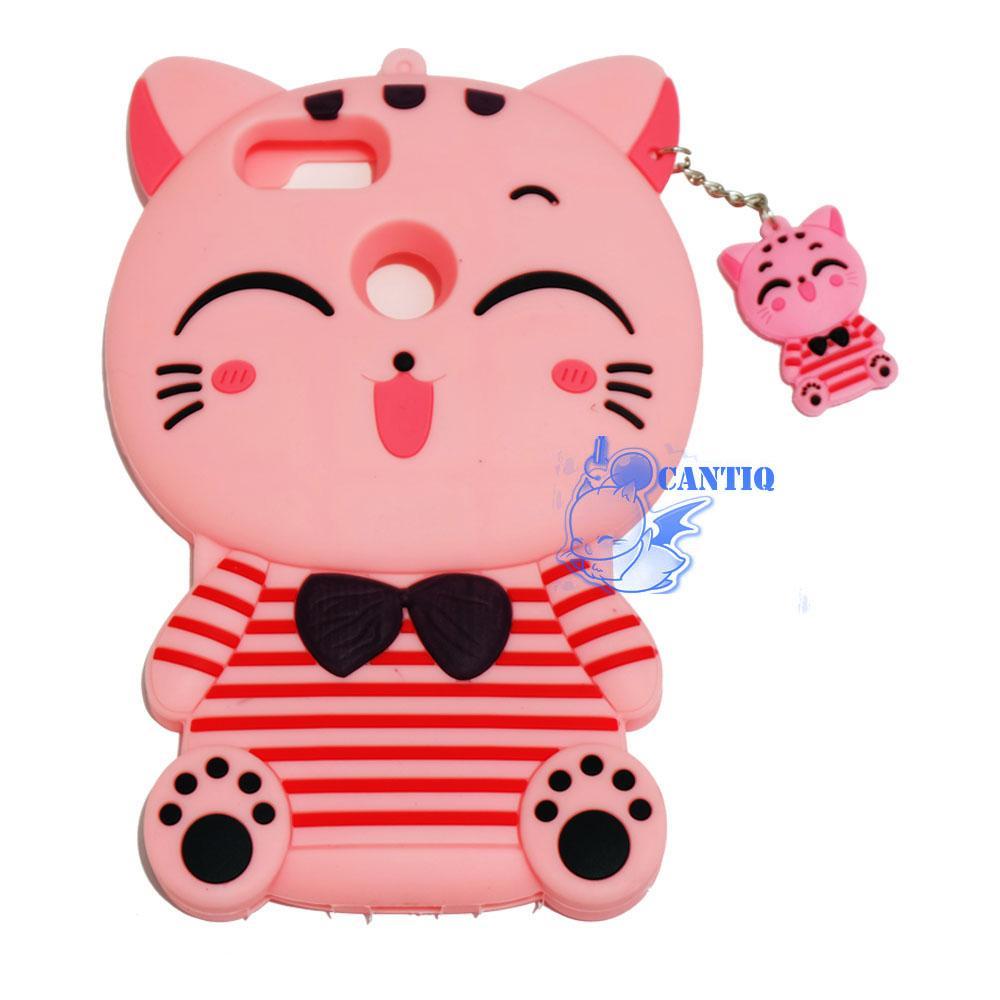 QCF Silikon Case 3D Xiaomi Mi 5X Kucing Pink Belang Merah / Casing Xiaomi / Softcase Boneka Xiaomi Mi 5X / Case Kartun / Case Unik – Happy Cat Pink