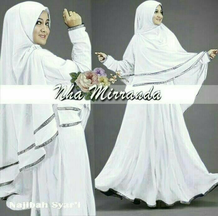 Limited! Najibah syar'i white baju muslim wanita warna putih gamis syari