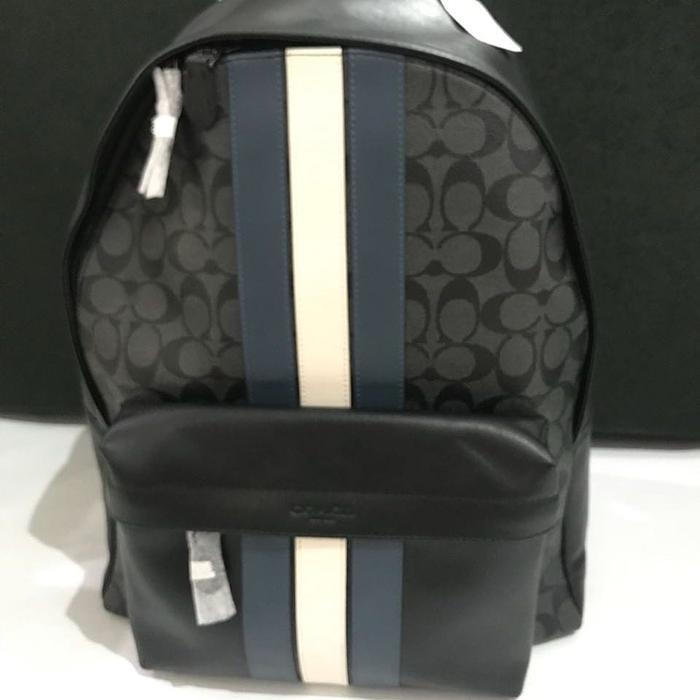 Tas Ransel Backpack Pria Cowok Wanita Cewe Coach Original Coach Backpack  Sign Black Stripes Tas Laptop 0a6d74feaf