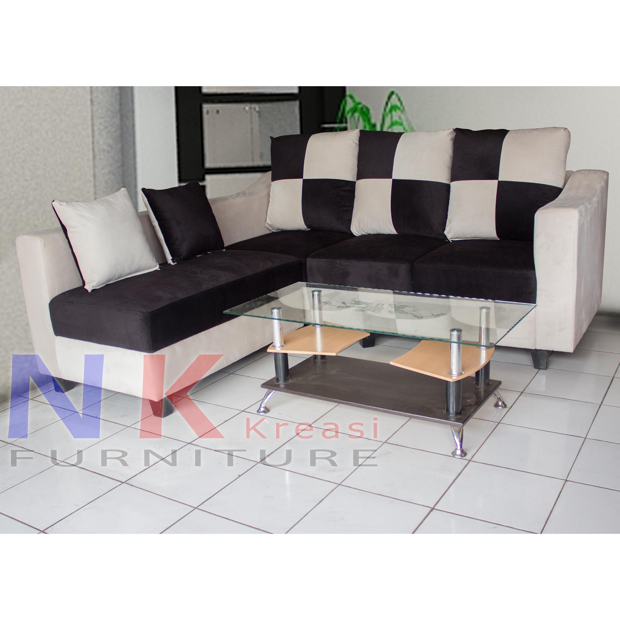 Sofa Kursi Tamu minimalis, sofa sudut catur mewah + MEJA TAMU - JABODETABEK ONLY