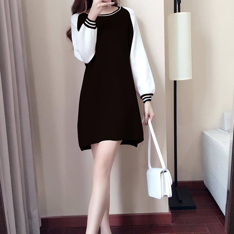 aad32b4a466 Plus velvet dress female clothing long section students loose slimming skirt