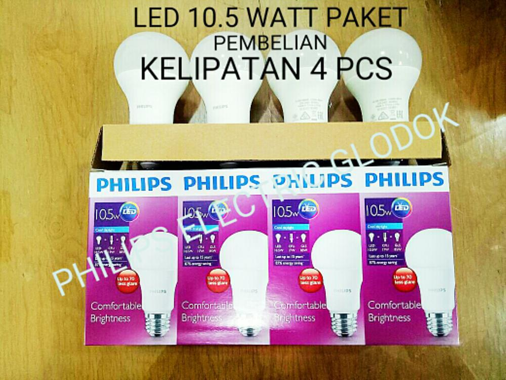 LAMPU PHILIPS LED 10,5 WATT 10.5 Watt 10.5Watt 10.5 W 10.5W ( 1 Paket 4 Pcs)