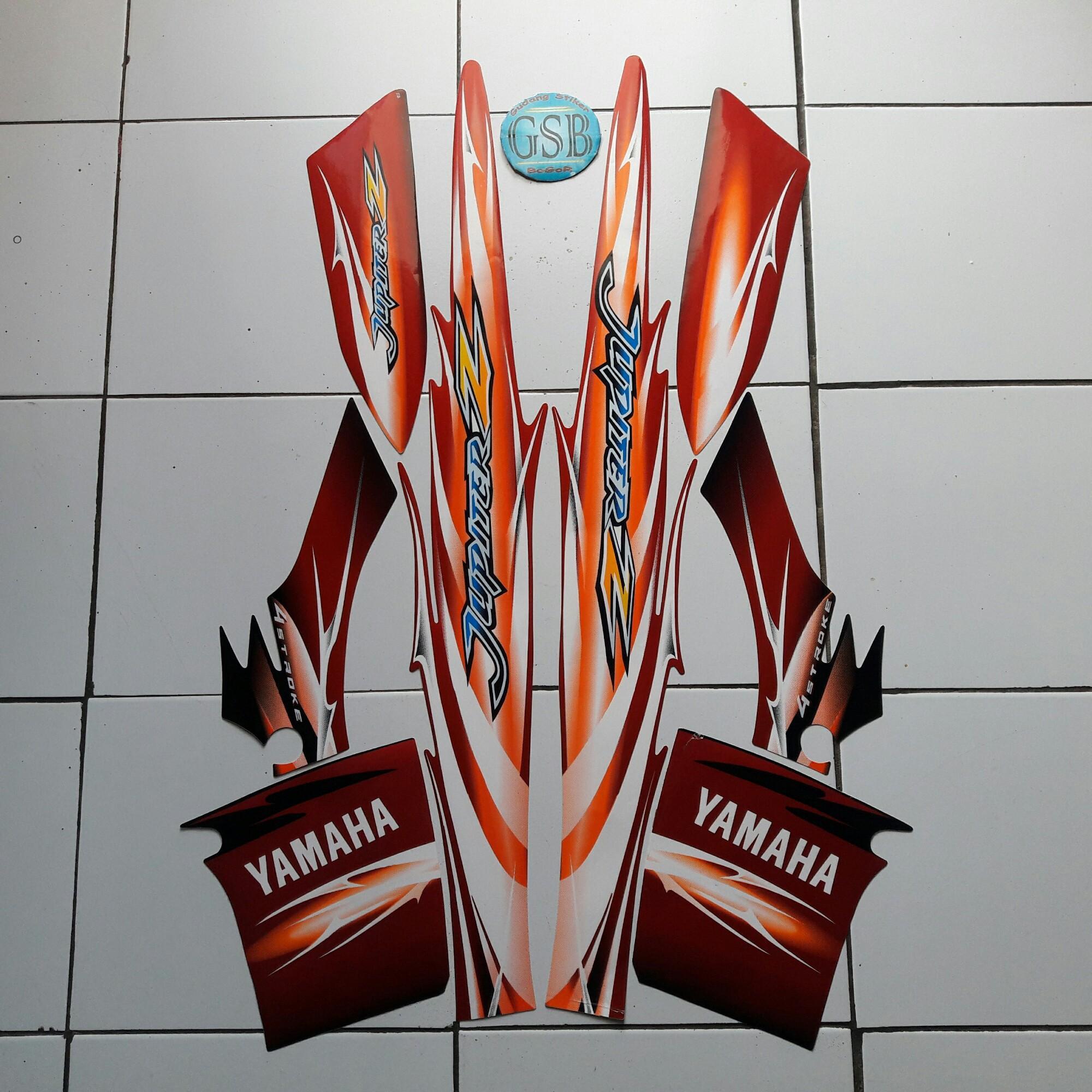 Stiker striping motor yamaha jupiter z cw 2007 merah hitam