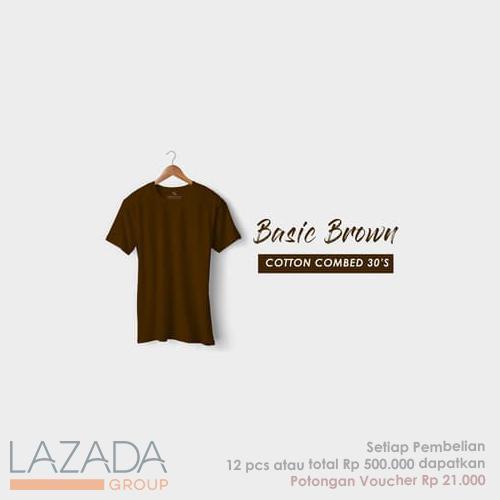 Kaos Polos Basic Brown Fashion-able Label [PREMIUM QUALITY]