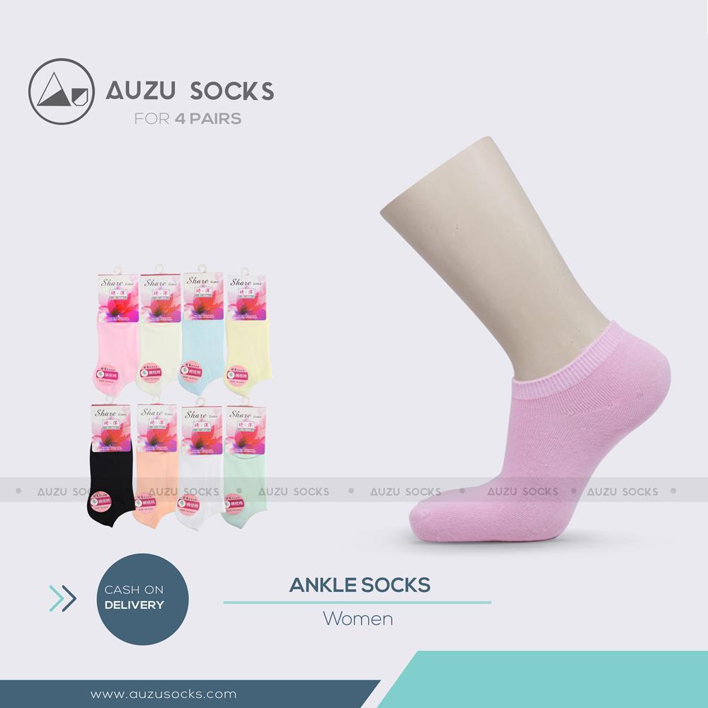 Jual Kaos Kaki Auzu Berkualitas Murah Serat Bamboo Anti Bacterial Model Pendek Low Cut Socks 4 Pasang Ankle Wanita Semata