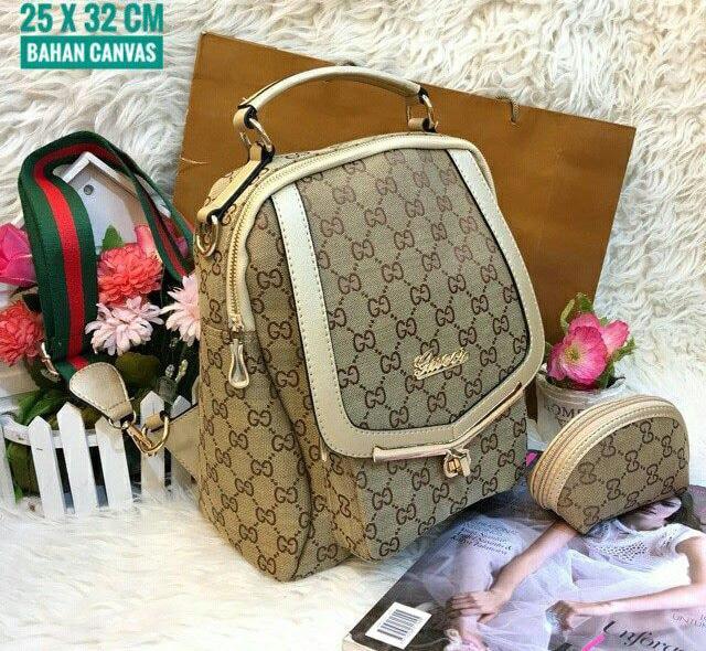 Tas Ransel Kanvas Gucci Wanita Promo Murah Terbaru Limited Warna Krem - YfAKjm