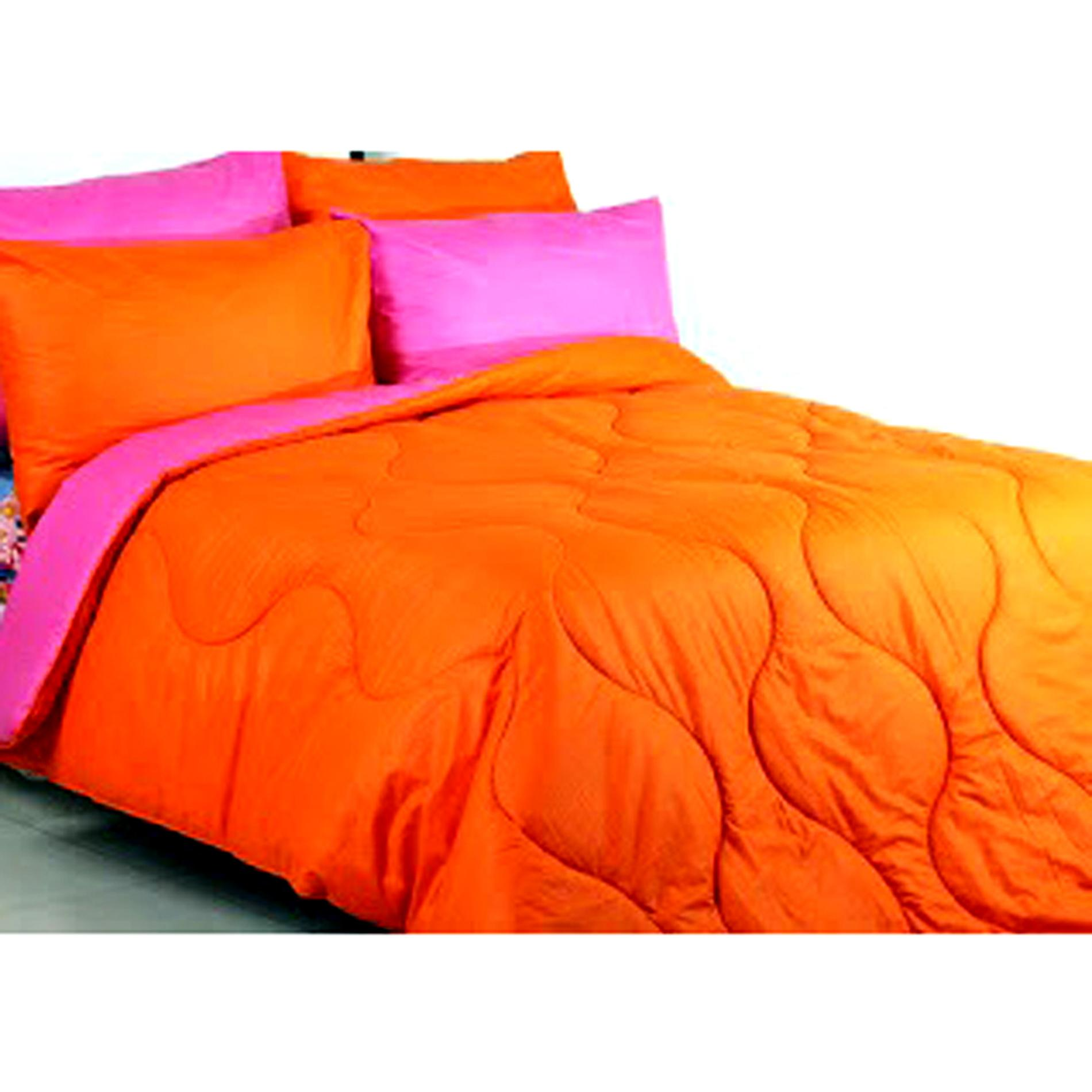 Ellenov Orange Pink Sprei With Bed Cover Katun