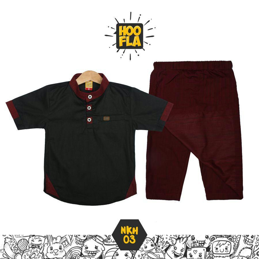 Hoofla Setelan Koko Sarung Celana Baju Anak Lucu Warna Hitam