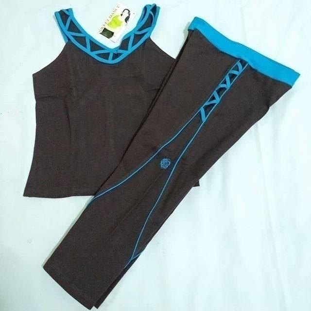 JdF Shop - Setelan Baju Senam Leher Sabrina / pakaian aerobic yoga fitness gym sportwear set