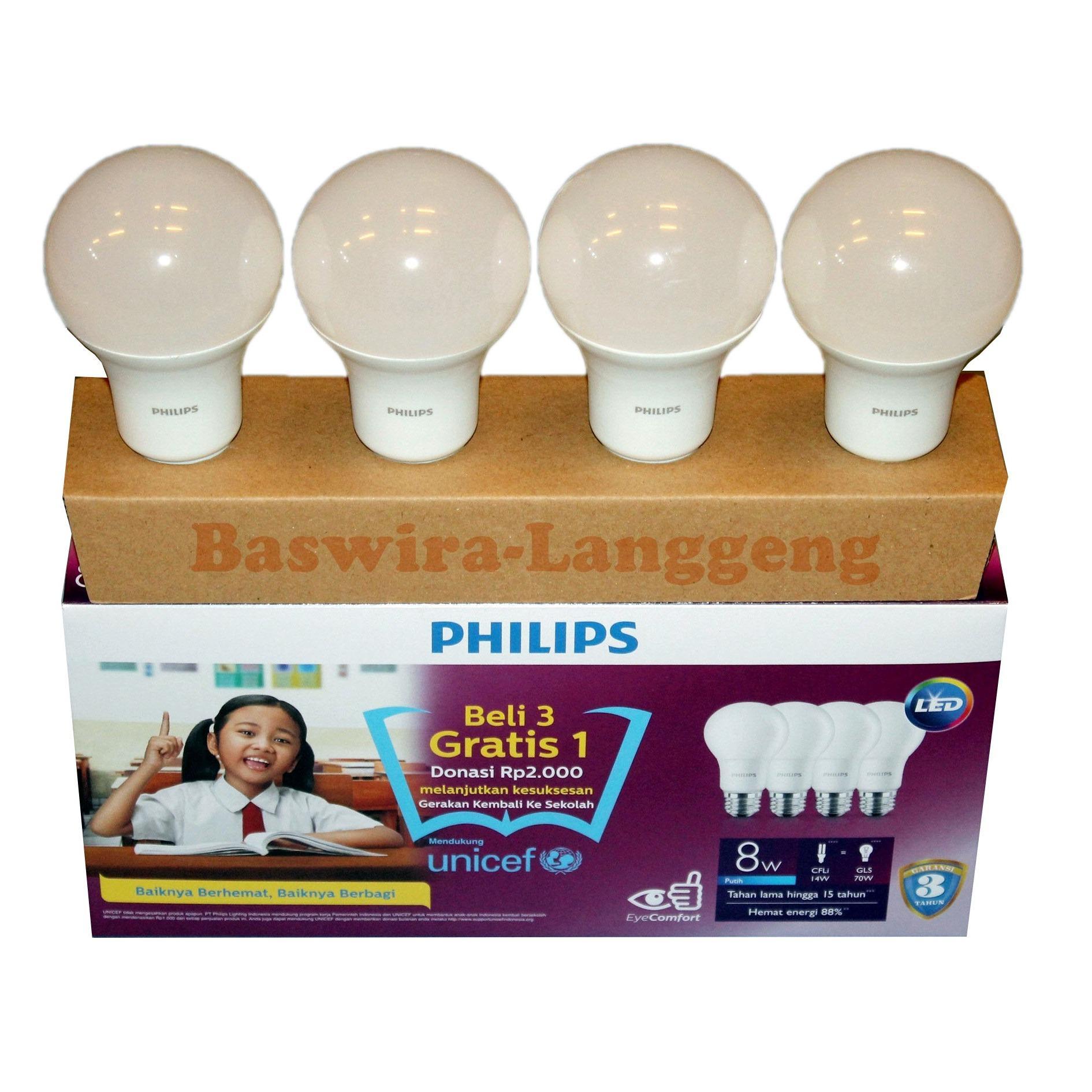 PHILIPS Lampu Led Bulb 8 Watt UNICEF Paket Beli 3 Gratis 1 Putih