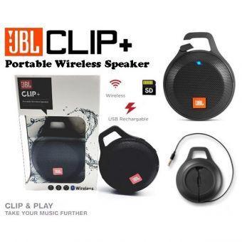 JBL Clip plus Bluetooth Speaker portable SPLASHPROOF ORIGINAL clip + - hitam black TERMURAH 200ribuan