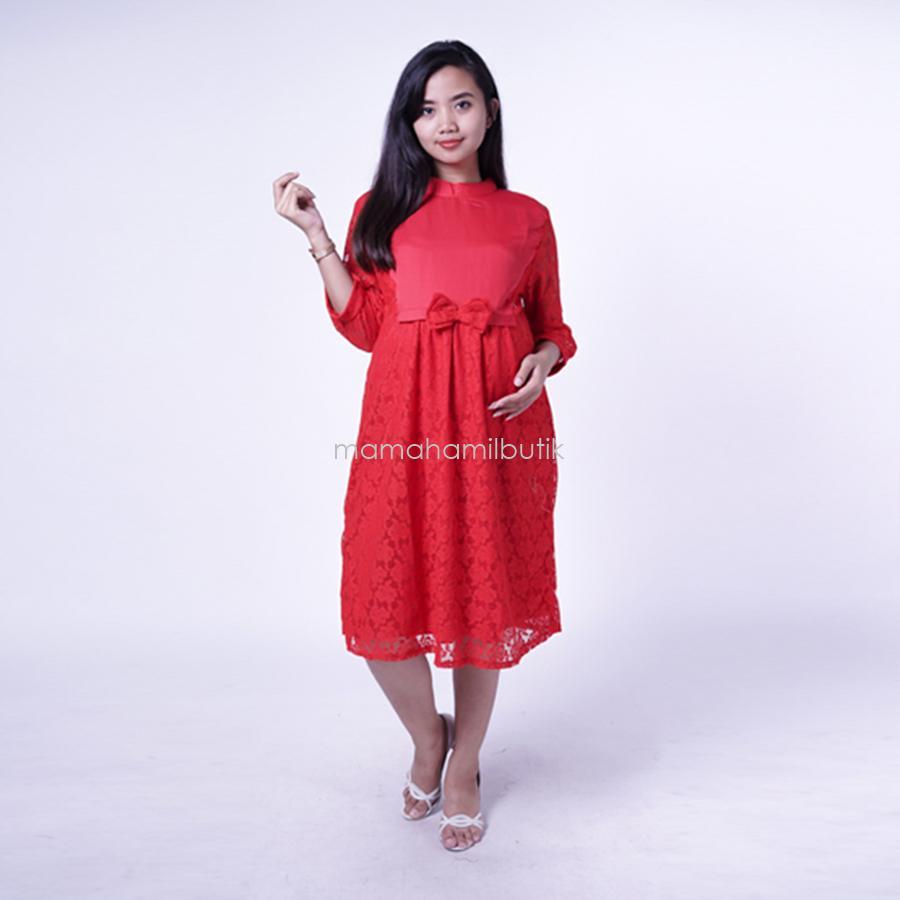 Mommy Maternity Boutique Dress Hamil Pesta Brokat Pita Toksedo Ivanna Dress - DRO 900