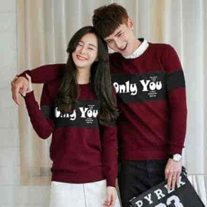 Sale [cp Only You Maroon Lt] Baju Couple Babyterry Maroon Pvkyjg