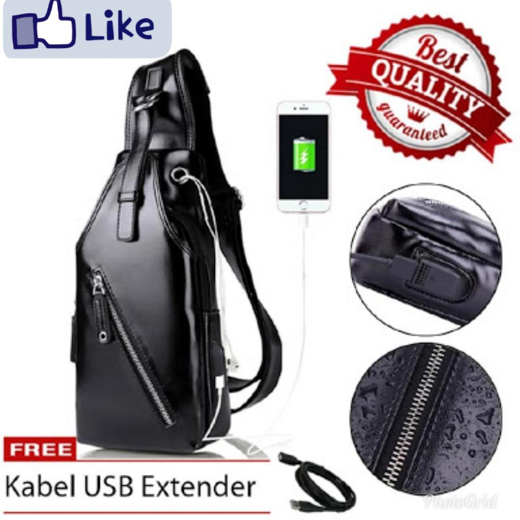 Tas Selempang Pria Kulit/Sling Bag Premium Leather with USB CS KU-01