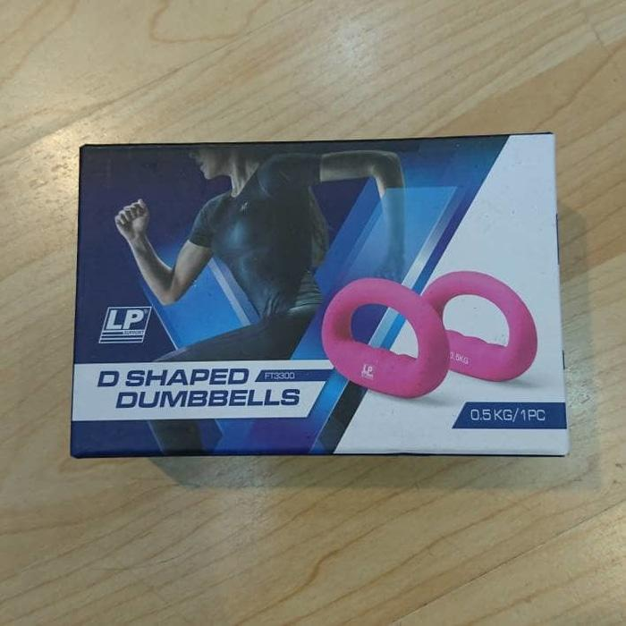 PROMO LP SUPPORT D SHAPPED DUMBBELLS 1KG / PAIR BARBELL TANGAN PINK 2 X 0.5K