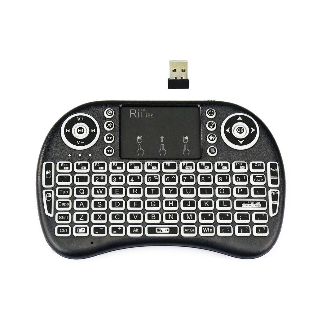 Rp 229.000. QNSTAR Rii i8s 2.4Ghz Mini Wireless Keyboard LED Backlit Touchpad with USB Receiver blackIDR229000