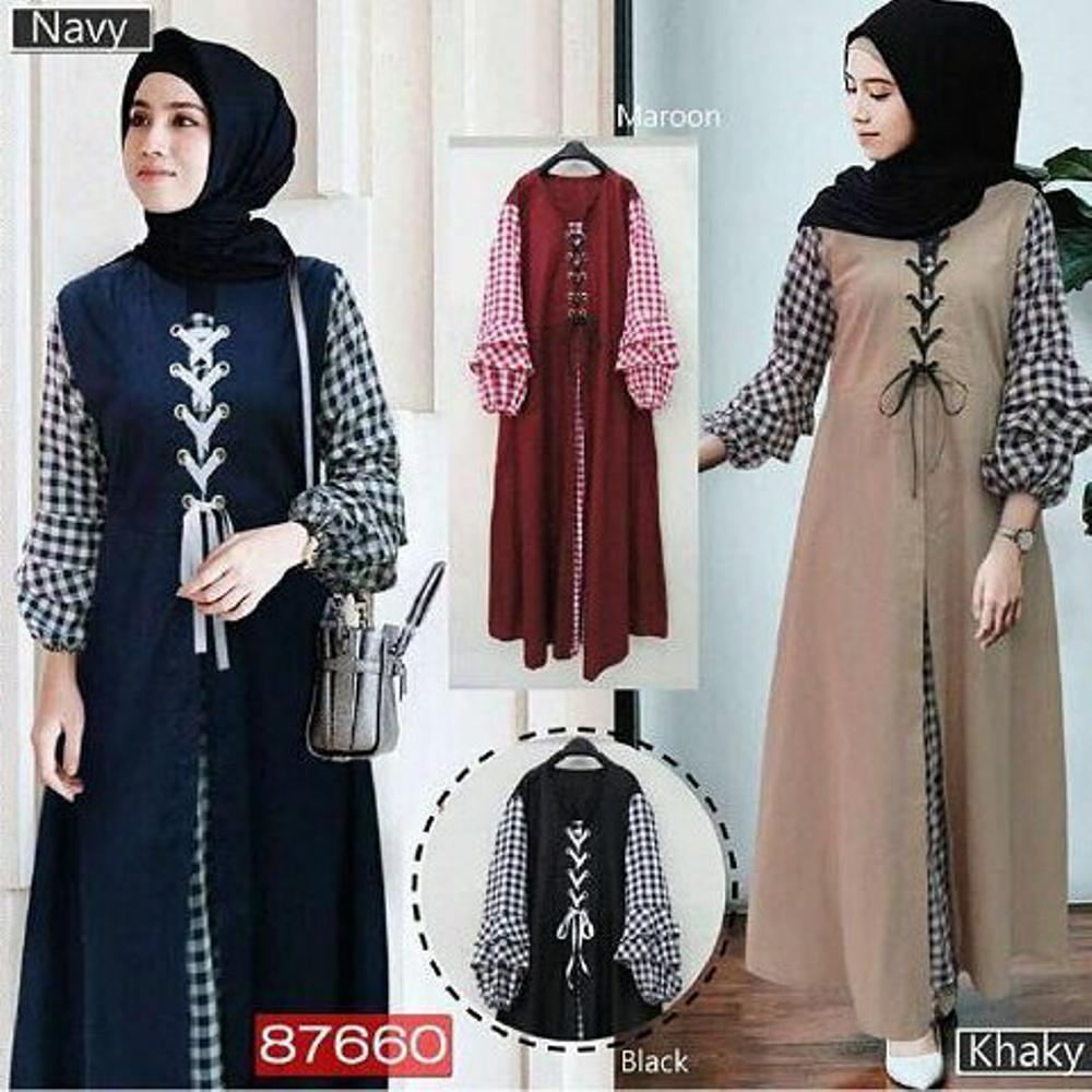 Baju Muslim Original Gamis Soimah Dress Baloteli Mix Katun Muslim Panjang Dress Casual Wanita Pakaian Hijab Modern Gamis Modis Trendy Gaun Terbaru